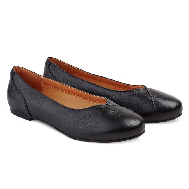 Flacher Ballerina Schwarz – modischer und bequemer Schuh für Hallux valgus und empfindliche Füße von LaShoe.de
