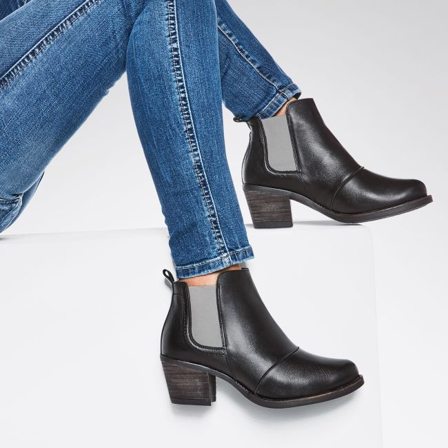 Boot im Chelsea-Stil Schwarz/Grau – modischer und bequemer Schuh für Hallux valgus und empfindliche Füße von LaShoe.de