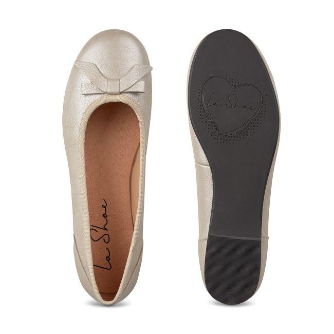 Ballerina mit Schleife Champagner – modischer und bequemer Schuh für Hallux valgus und empfindliche Füße von LaShoe.de