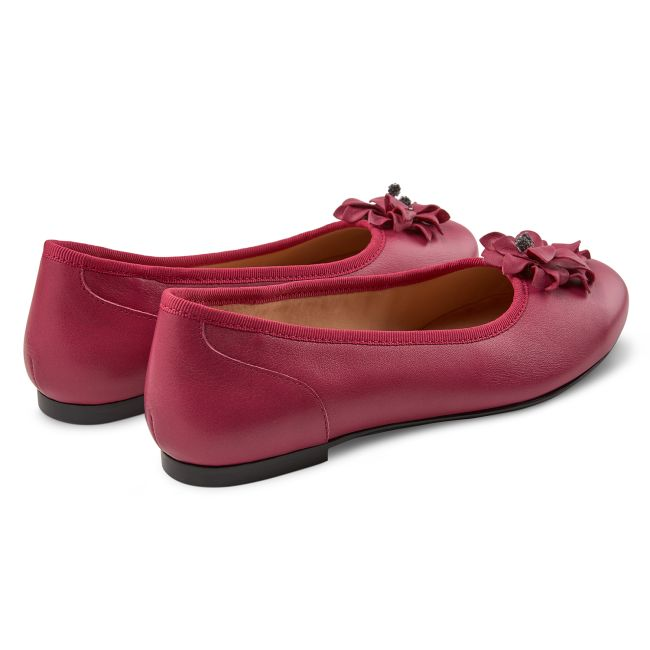 Ballerina mit Blüte Magenta – modischer und bequemer Schuh für Hallux valgus und empfindliche Füße von LaShoe.de