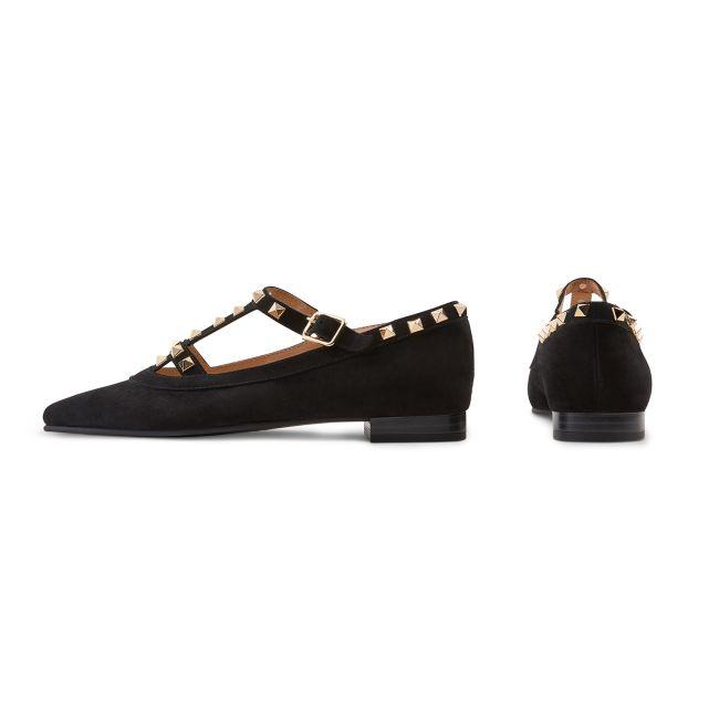 Ballerina mit Nieten Schwarz – modischer und bequemer Schuh für Hallux valgus und empfindliche Füße von LaShoe.de