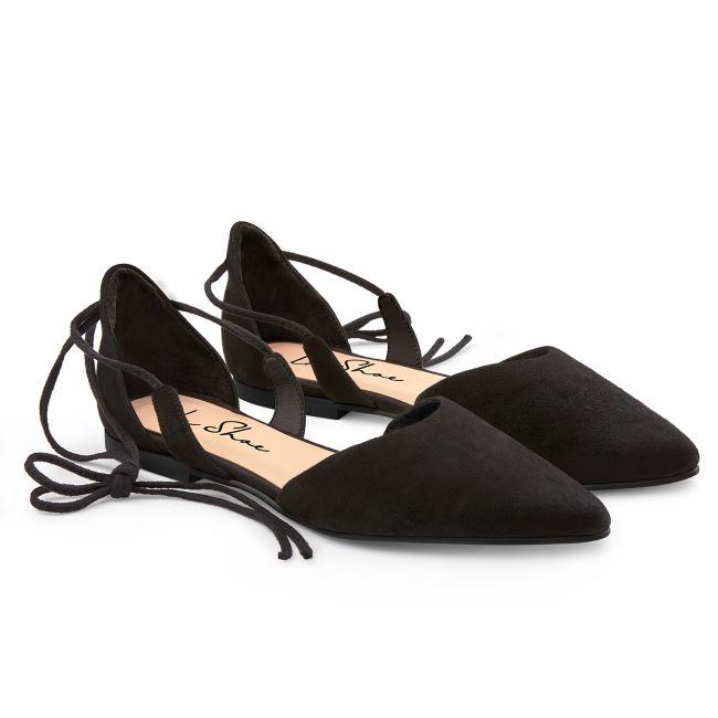 Ballerina Ghillies Schwarz  – modischer und bequemer Schuh für Hallux valgus und empfindliche Füße von LaShoe.de