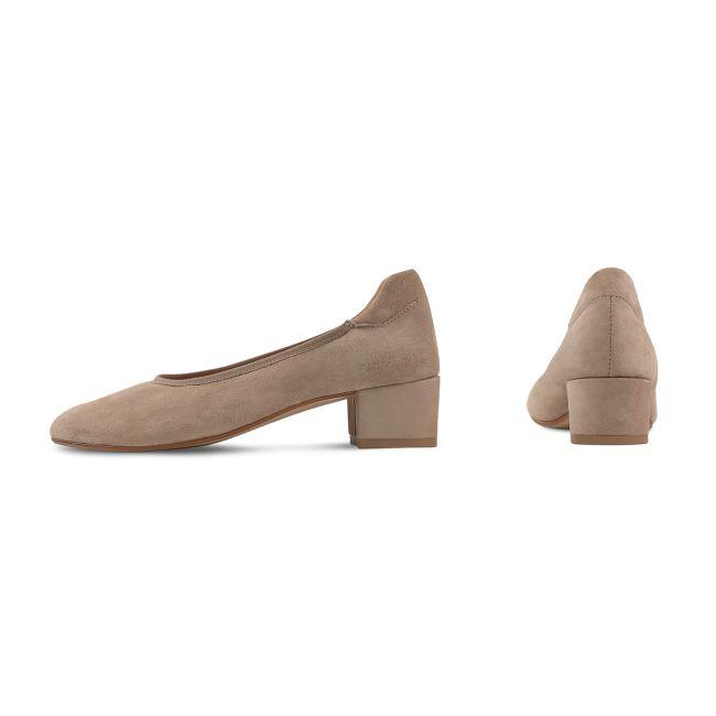 Pumps auf Blockabsatz Taupe – modischer und bequemer Schuh für Hallux valgus und empfindliche Füße von LaShoe.de