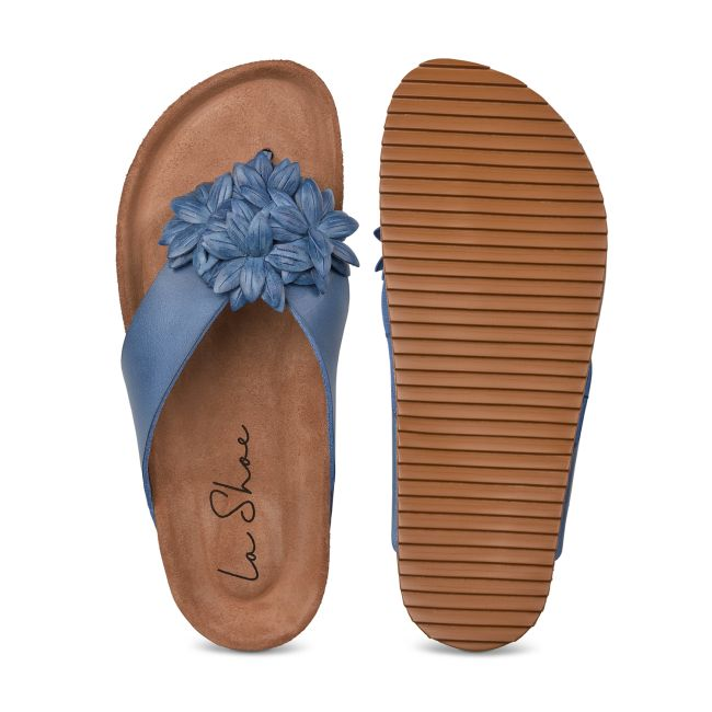 Flip Flop mit Blüten Blau – modischer und bequemer Schuh für Hallux valgus und empfindliche Füße von LaShoe.de