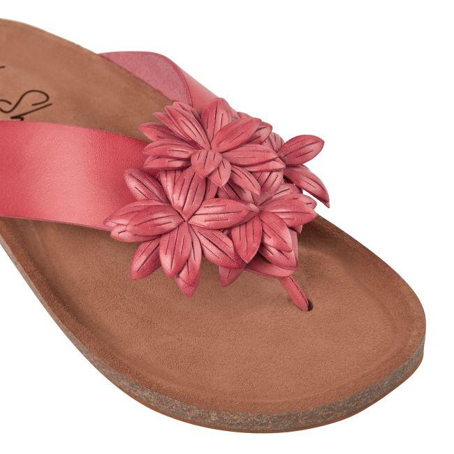 Flip Flop mit Blüten Koralle – modischer und bequemer Schuh für Hallux valgus und empfindliche Füße von LaShoe.de