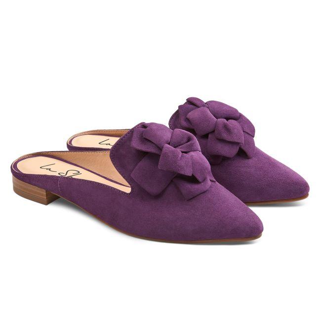Mule mit Blume Lila – modischer und bequemer Schuh für Hallux valgus und empfindliche Füße von LaShoe.de
