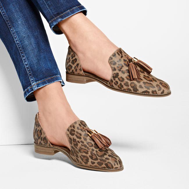 Slipper mit Troddeln Leo Braun – modischer und bequemer Schuh für Hallux valgus und empfindliche Füße von LaShoe.de
