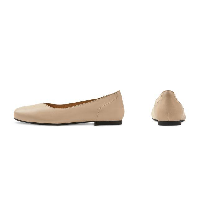 Ballerina Materialmix Beige – modischer und bequemer Schuh für Hallux valgus und empfindliche Füße von LaShoe.de