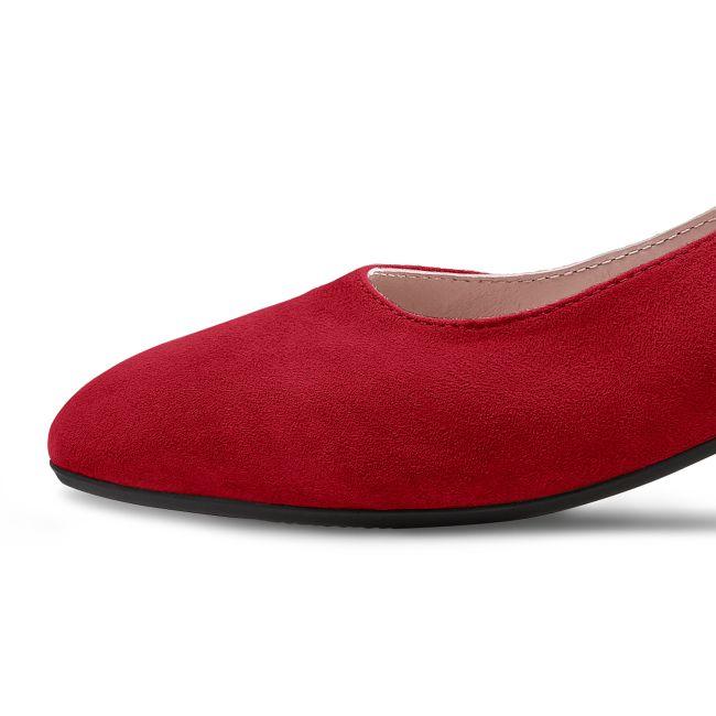 Pumps mit Galonstreifen Rot – modischer und bequemer Schuh für Hallux valgus und empfindliche Füße von LaShoe.de