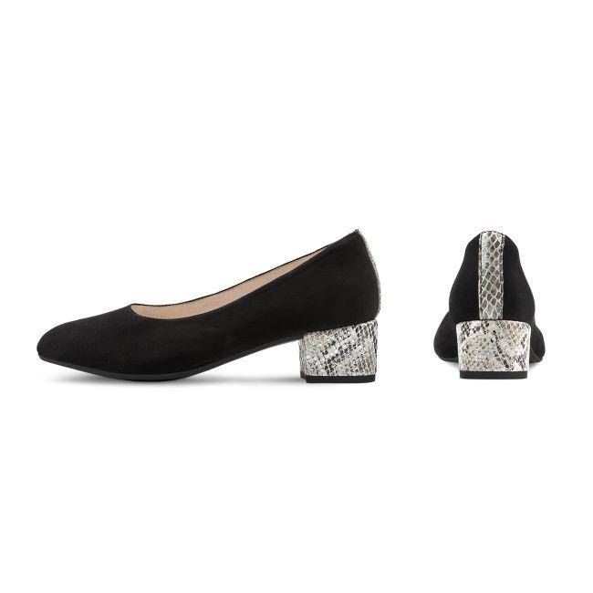 Pumps mit Schlangen-Detail Schwarz – modischer und bequemer Schuh für Hallux valgus und empfindliche Füße von LaShoe.de