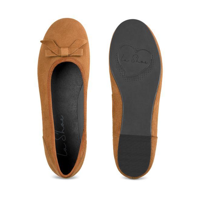 Ballerina mit Schleife Nubuk Curry – modischer und bequemer Schuh für Hallux valgus und empfindliche Füße von LaShoe.de