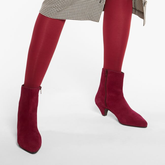 Stiefelette mit Kitten-Heel Rot  – modischer und bequemer Schuh für Hallux valgus und empfindliche Füße von LaShoe.de