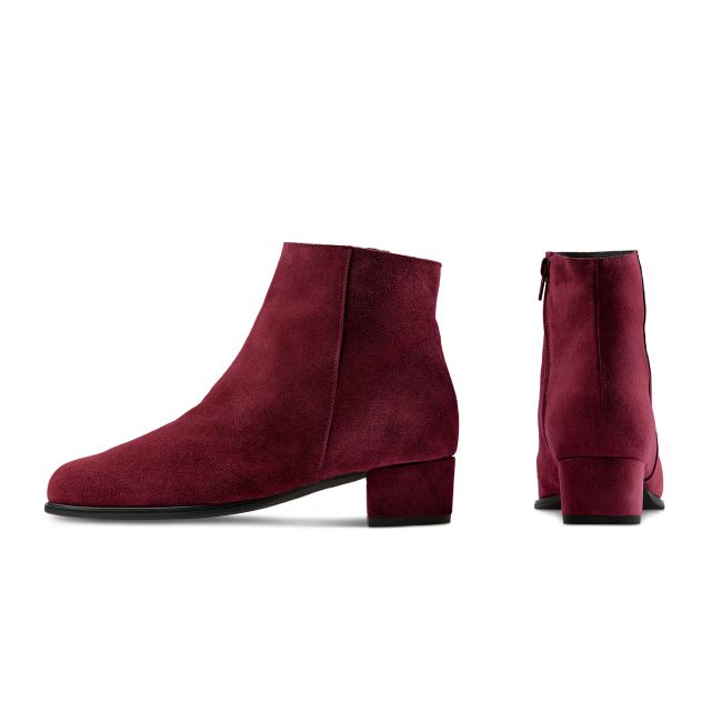Stiefelette auf Blockabsatz Kirschrot – modischer und bequemer Schuh für Hallux valgus und empfindliche Füße von LaShoe.de