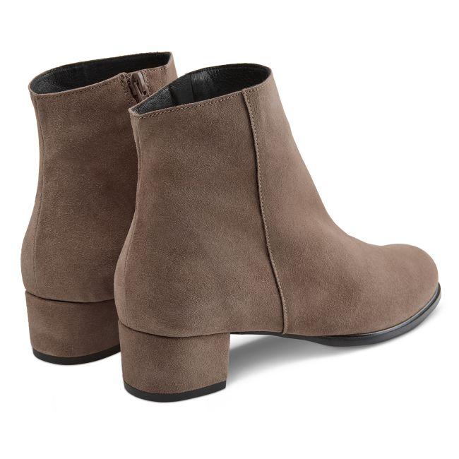 Stiefelette auf Blockabsatz Dunkeltaupe – modischer und bequemer Schuh für Hallux valgus und empfindliche Füße von LaShoe.de