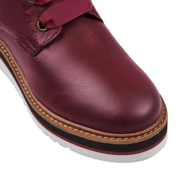 Schnürboot auf Plateausohle Rot – modischer und bequemer Schuh für Hallux valgus und empfindliche Füße von LaShoe.de