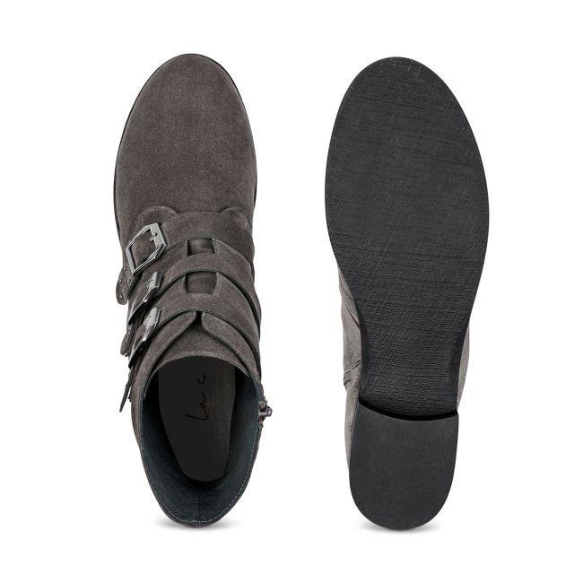 Bikerbootie Nubukleder Grau – modischer und bequemer Schuh für Hallux valgus und empfindliche Füße von LaShoe.de