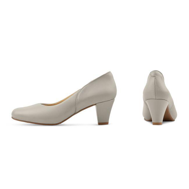 Klassischer Pumps mit Softfußbett Hellgrau – modischer und bequemer Schuh für Hallux valgus und empfindliche Füße von LaShoe.de