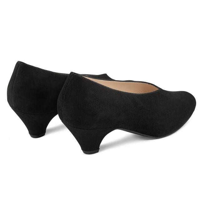 Pumps V-Shape Nubuk Schwarz – modischer und bequemer Schuh für Hallux valgus und empfindliche Füße von LaShoe.de