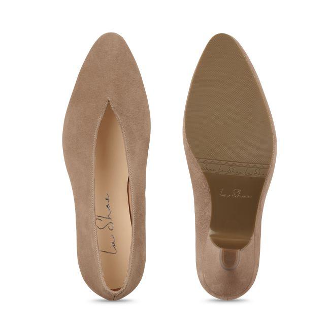 Pumps V-Shape Nubuk Taupe – modischer und bequemer Schuh für Hallux valgus und empfindliche Füße von LaShoe.de