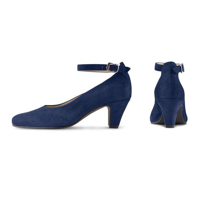 Pumps mit Fesselriemchen Marine – modischer und bequemer Schuh für Hallux valgus und empfindliche Füße von LaShoe.de