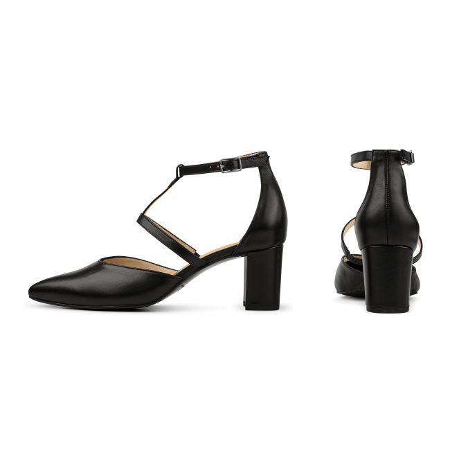 Pumps T-Strap Schwarz – modischer und bequemer Schuh für Hallux valgus und empfindliche Füße von LaShoe.de