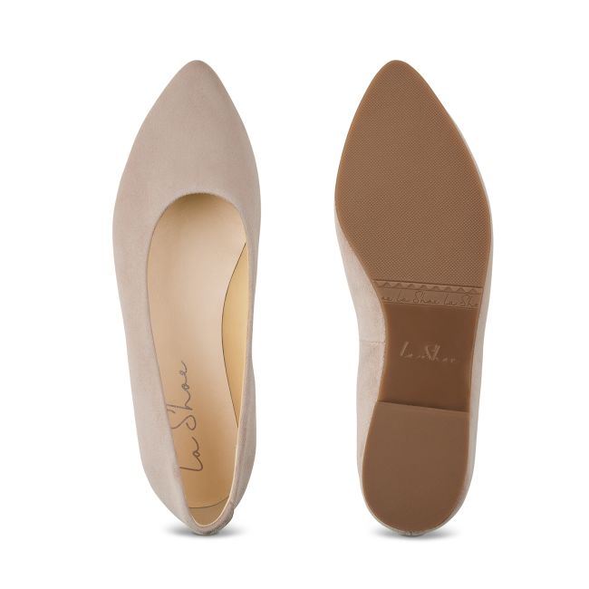 Ballerina Spitz Hellbeige – modischer und bequemer Schuh für Hallux valgus und empfindliche Füße von LaShoe.de