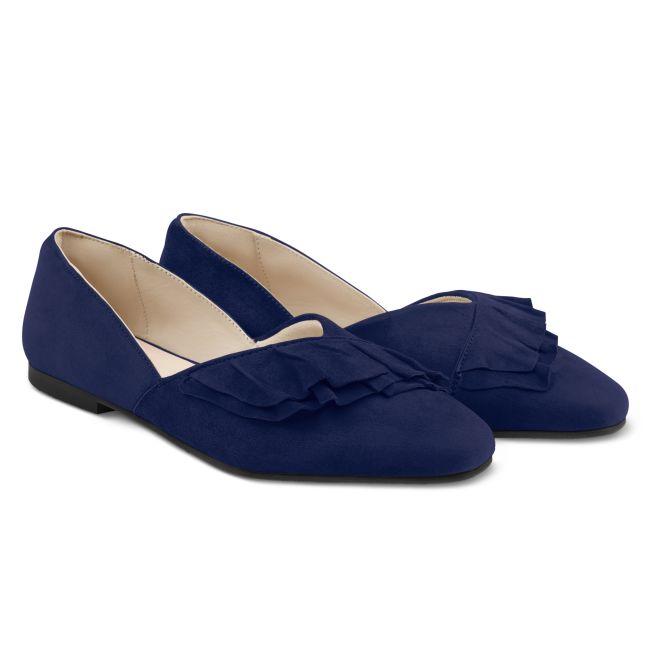 Ballerina mit Volant Marine – modischer und bequemer Schuh für Hallux valgus und empfindliche Füße von LaShoe.de