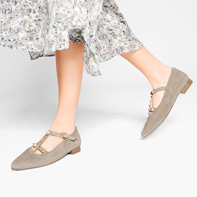 Ballerina mit Nieten Grau – modischer und bequemer Schuh für Hallux valgus und empfindliche Füße von LaShoe.de