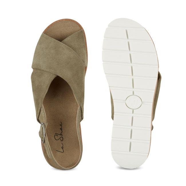 Sandale Kreuzriemen Khaki – modischer und bequemer Schuh für Hallux valgus und empfindliche Füße von LaShoe.de
