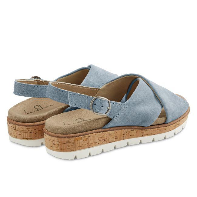 Sandale Kreuzriemen Hellblau – modischer und bequemer Schuh für Hallux valgus und empfindliche Füße von LaShoe.de