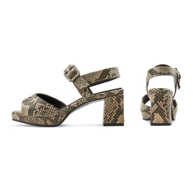 Sandalette Karree-Form Schlangenprint Schwarz – modischer und bequemer Schuh für Hallux valgus und empfindliche Füße von LaShoe.de
