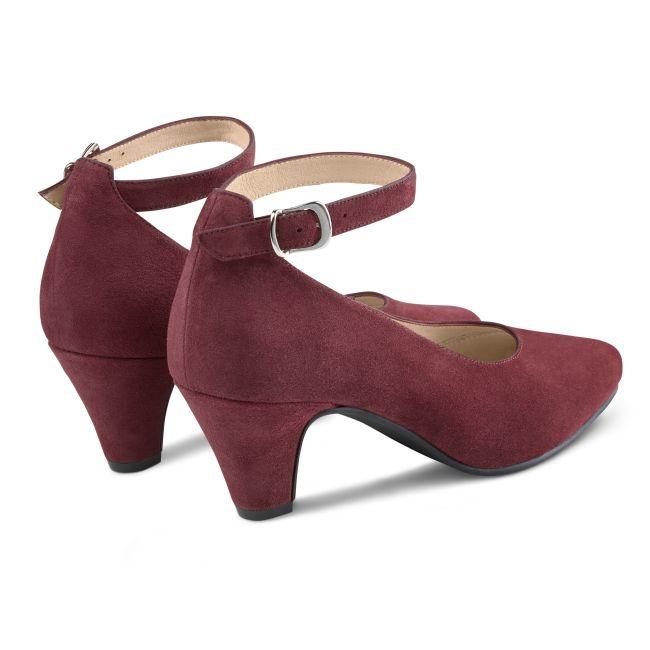 Pumps mit Fesselriemchen Bordeaux – modischer und bequemer Schuh für Hallux valgus und empfindliche Füße von LaShoe.de