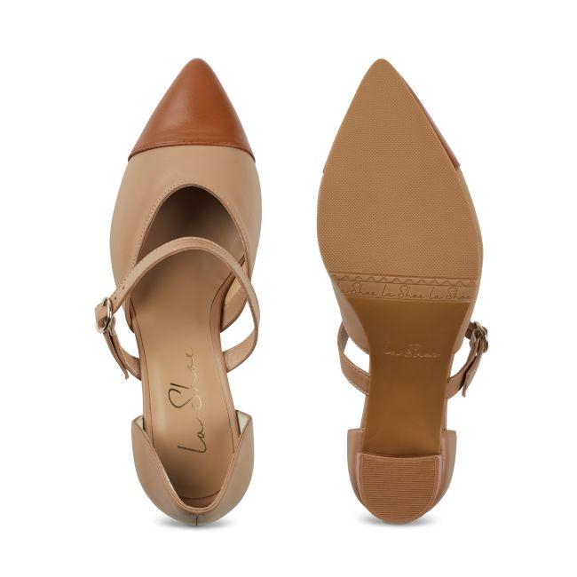 Pumps mit Kontrastspitze Beige/Cognac – modischer und bequemer Schuh für Hallux valgus und empfindliche Füße von LaShoe.de
