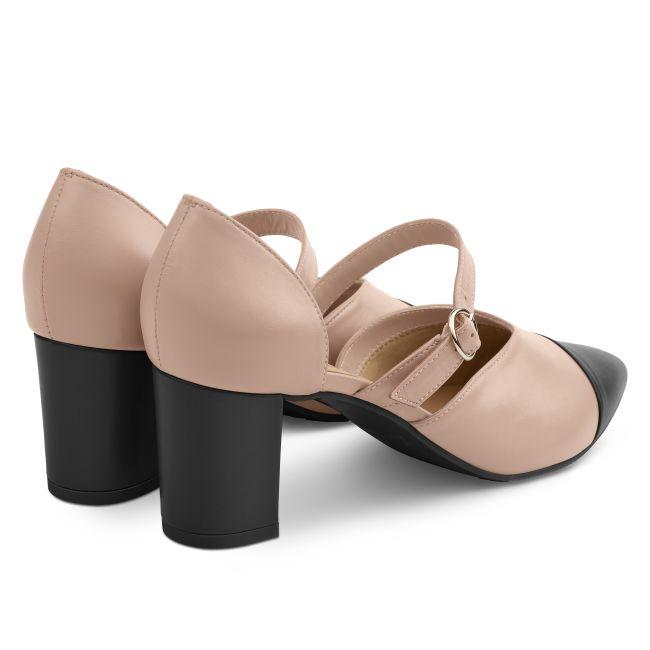Pumps mit Kontrastspitze Nude/Schwarz – modischer und bequemer Schuh für Hallux valgus und empfindliche Füße von LaShoe.de