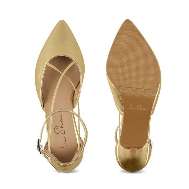 Pumps mit Kreuzriemchen Gold – modischer und bequemer Schuh für Hallux valgus und empfindliche Füße von LaShoe.de