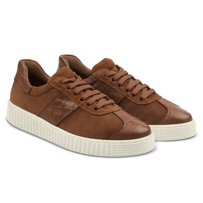 Sneaker Retro mit Kroko-Detail Cognac – modischer und bequemer Schuh für Hallux valgus und empfindliche Füße von LaShoe.de