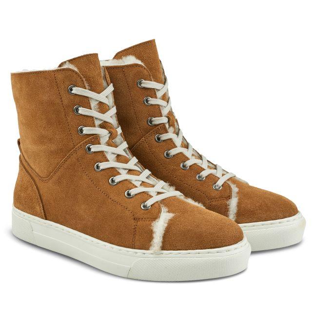 High-Top Sneaker mit Lammfell Cognac – modischer und bequemer Schuh für Hallux valgus und empfindliche Füße von LaShoe.de