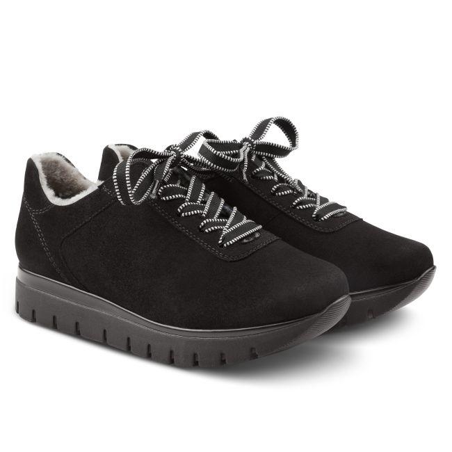 Premium Sneaker mit Lammfell Schwarz – modischer und bequemer Schuh für Hallux valgus und empfindliche Füße von LaShoe.de