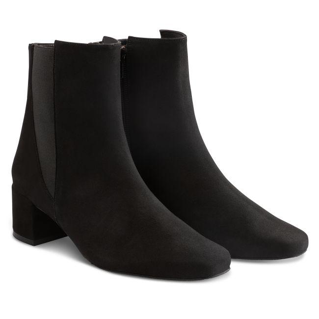 Stiefelette Karree Nubuk Schwarz – modischer und bequemer Schuh für Hallux valgus und empfindliche Füße von LaShoe.de