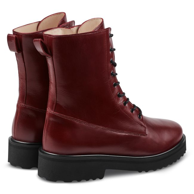 Schnürboot im Combat-Style Bordeaux – modischer und bequemer Schuh für Hallux valgus und empfindliche Füße von LaShoe.de