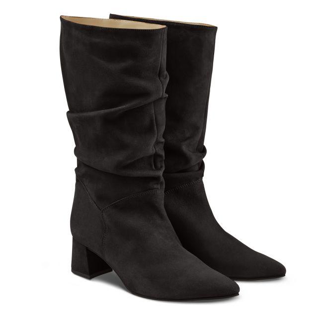 Stiefel Slouchy Nubuk Schwarz – modischer und bequemer Schuh für Hallux valgus und empfindliche Füße von LaShoe.de