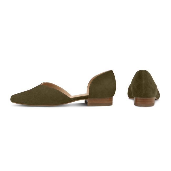 Ballerina V-Cut Khaki – modischer und bequemer Schuh für Hallux valgus und empfindliche Füße von LaShoe.de