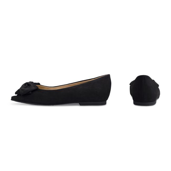 Peeptoe Ballerina mit Schleife Schwarz – modischer und bequemer Schuh für Hallux valgus und empfindliche Füße von LaShoe.de