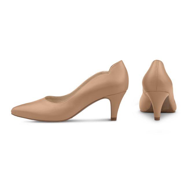 Pumps mit geschwungenem Ausschnitt Nude – modischer und bequemer Schuh für Hallux valgus und empfindliche Füße von LaShoe.de