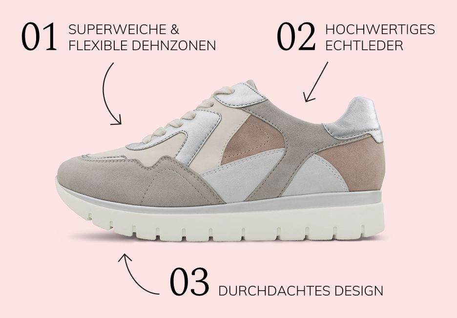 Das macht LaShoe besonders: superweiche Hallux Comfort-Stretchzonen im Vorfußbereich